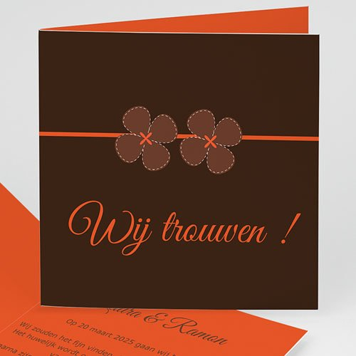 Oranje Trouwkaarten Bruin en oranje klavertjes vier