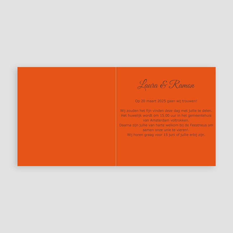 Oranje Trouwkaarten Bruin en oranje klavertjes vier pas cher