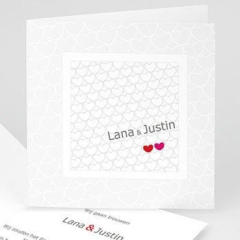 Personaliseerbare trouwkaarten - Hartjes tussen hartjes - 1