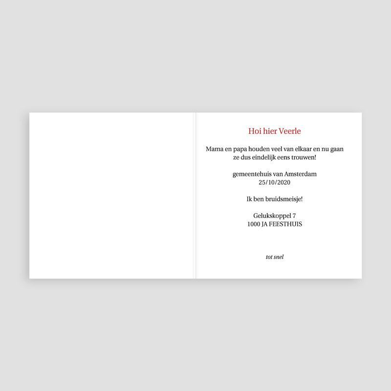 Trouwkaarten zonder Foto Hartgordijntje pas cher