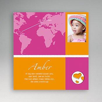 Adoptiekaarten voor meisjes - Reis met jou om de wereld - 1
