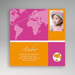 Adoptiekaarten voor meisjes Reis met jou om de wereld
