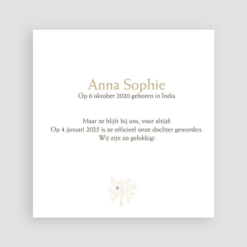 Adoptiekaartjes voor Meisjes Vierkant de mooiste pas cher