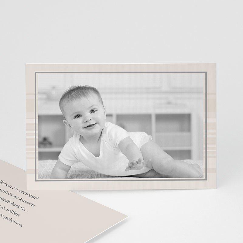 Bedankkaartjes Geboorte Jongen Verlicht taupe, horizontaal
