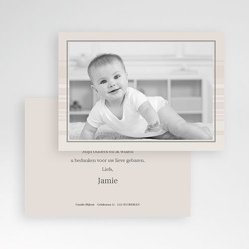 Bedankkaartjes Geboorte Jongen Verlicht taupe, horizontaal pas cher