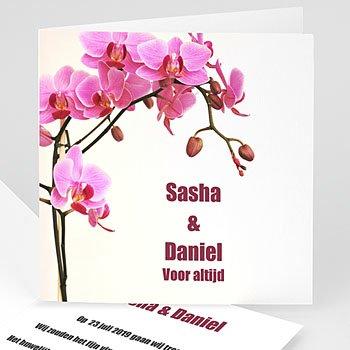 Trouwkaartjes zonder foto - Roze orchidee - 1