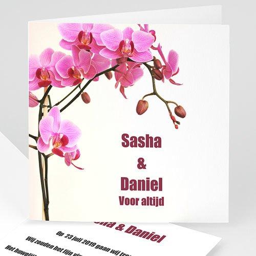 Trouwkaarten zonder Foto Roze orchidee
