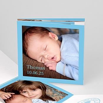 Geboortekaartje jongen - Blauw accordeonnetje - 1