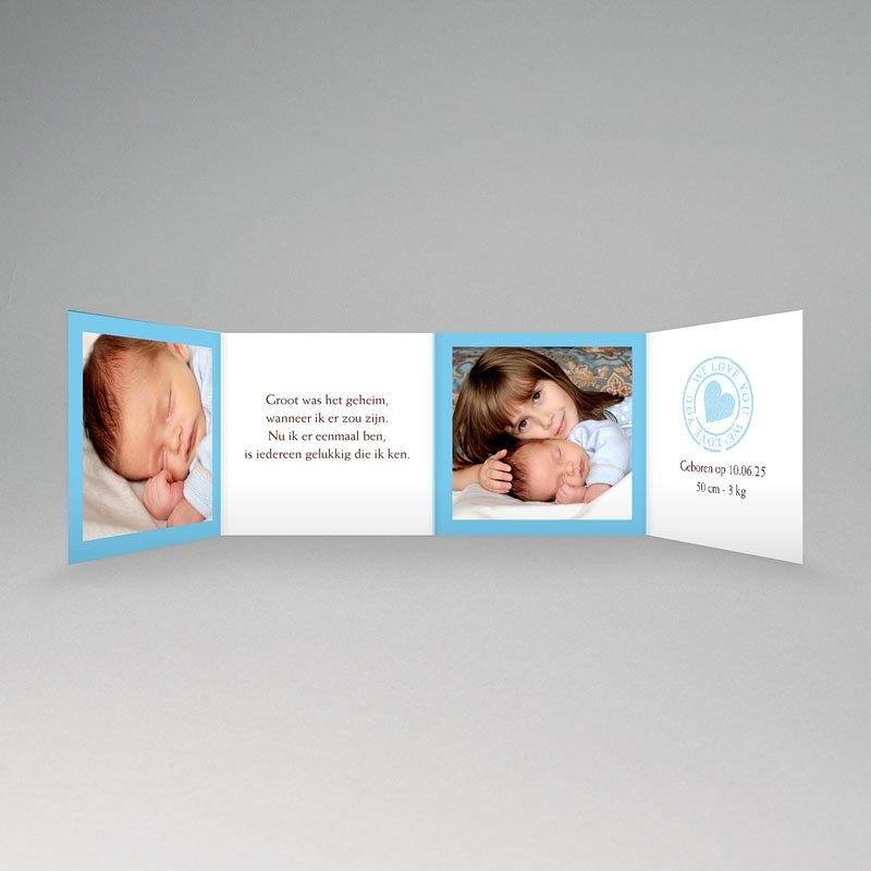Geboortekaartje jongen - Blauw accordeonnetje 11298 thumb