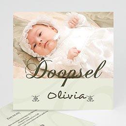 Doopkaartje meisje Drieluik met doopviering
