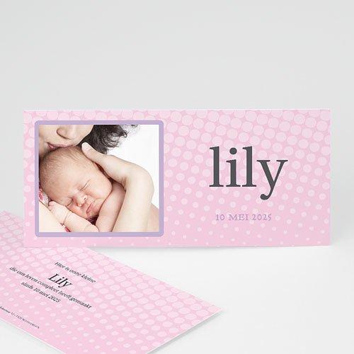 Geboortekaartjes Meisje Roze raster