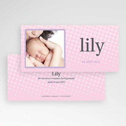 Geboortekaartje meisje - Roze raster 11308 thumb