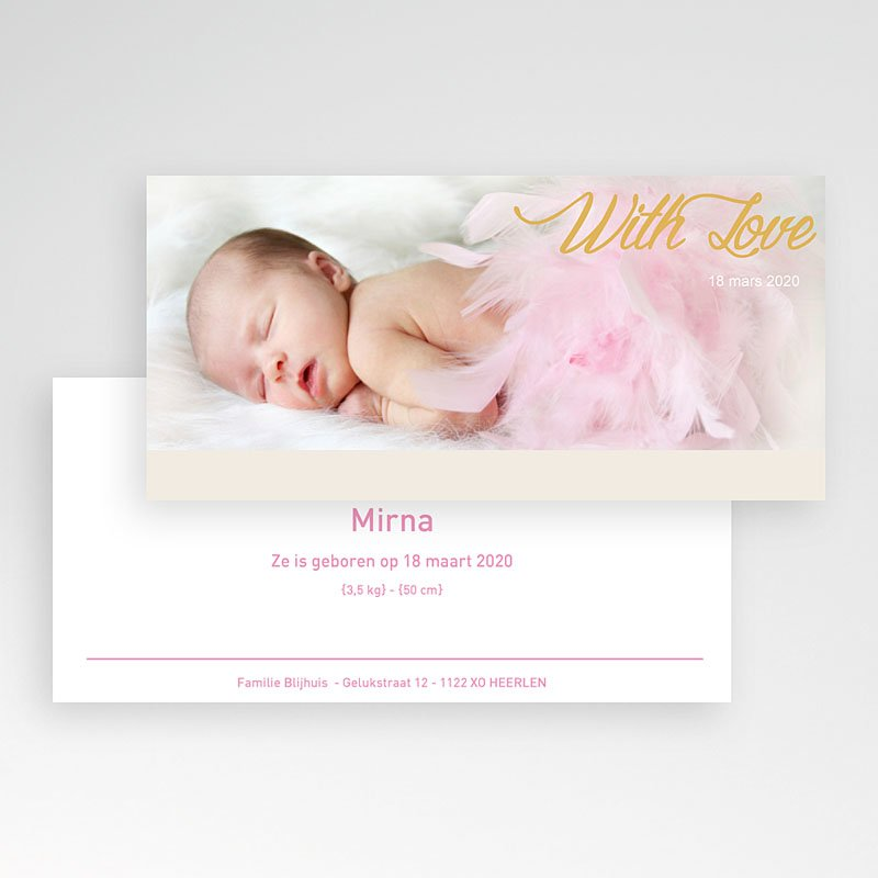 Geboortekaartje meisje - Roze droom 11312 thumb