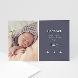Bedankkaartje geboorte dochter Grijs geel combi