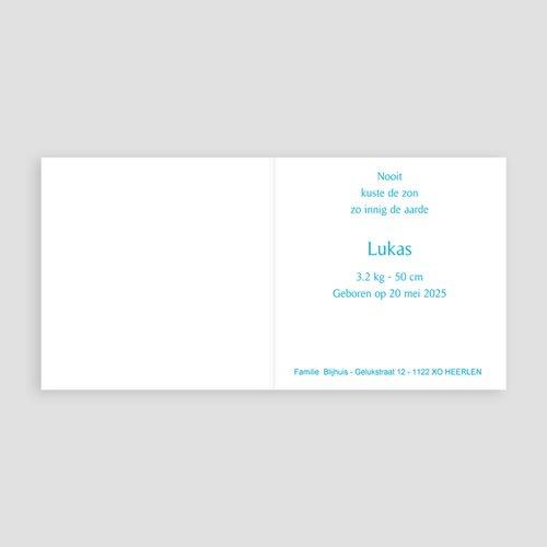 Geboortekaartje jongen - Blauwe klavertjes vier 11320 thumb