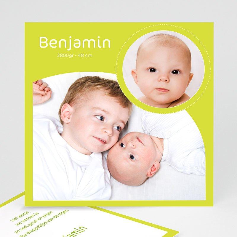 Geboortekaartjes Meisje Rond en vierkant geelgroen
