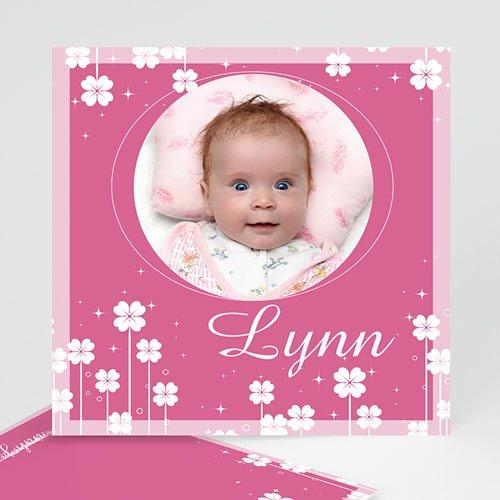 Geboortekaartje meisje - Roze klavertjes vier 11331 thumb