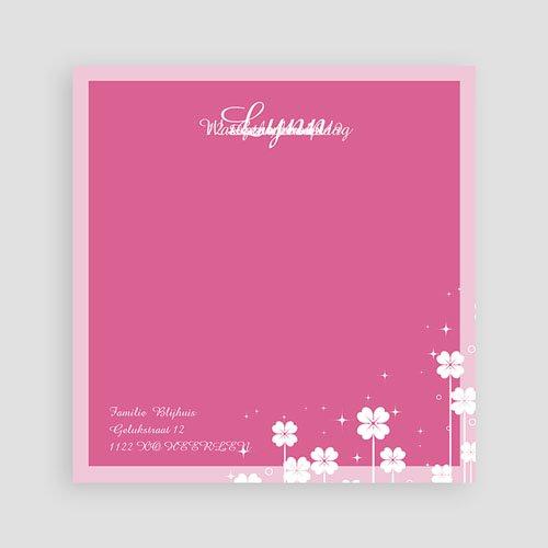 Geboortekaartje meisje - Roze klavertjes vier 11332 thumb