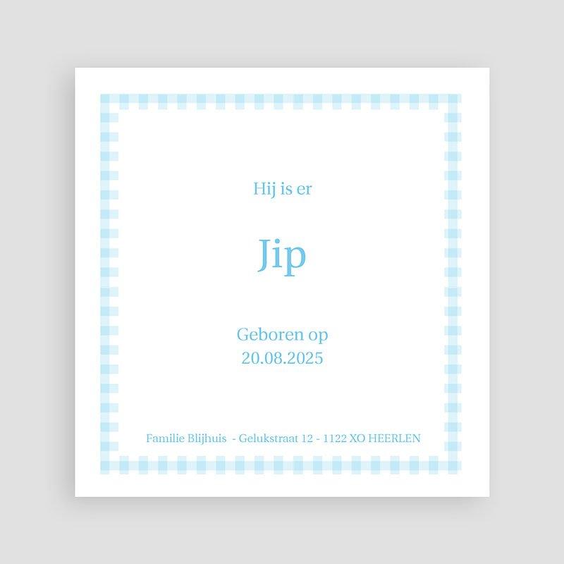 Geboortekaartje jongen - Blauwe ruitjes 11336 thumb