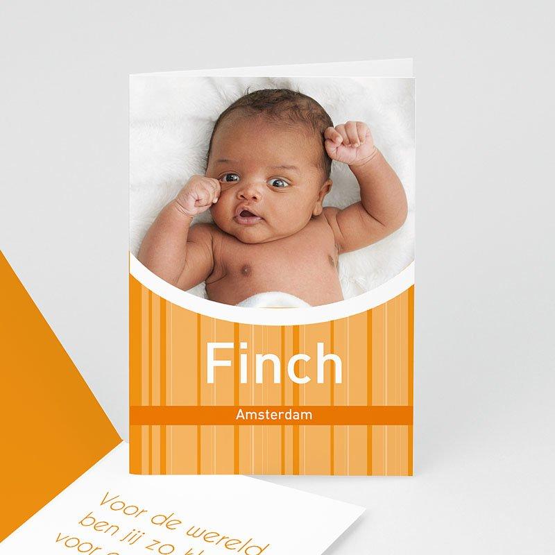 Geboortekaartje jongen Retro oranje