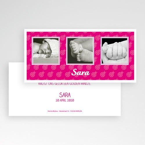 Geboortekaartje meisje - Roze lieveheersbeestje, liggend 11358 thumb