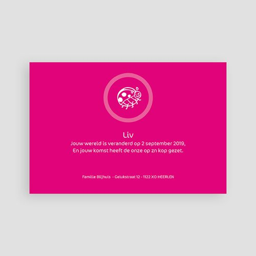 Geboortekaartjes Meisje Roze lieveheersbeestje pas cher