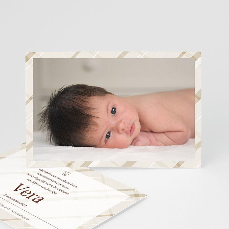 Geboortekaartje meisje Beige pastel ruitjes