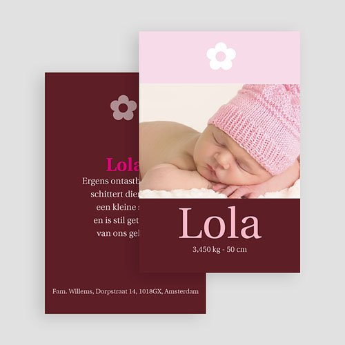Geboortekaartje meisje Ons dochtertje gratuit