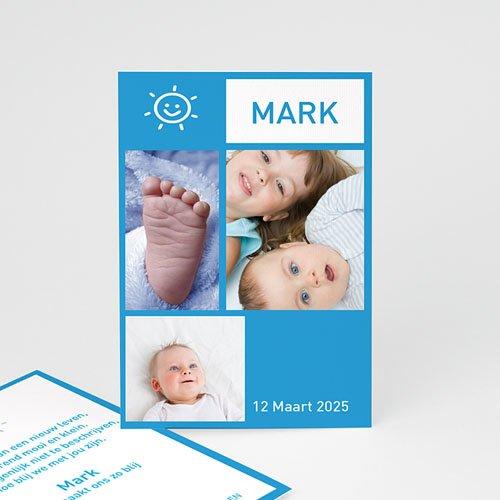 Geboortekaartjes Jongen Staand portretje met foto's, blauw