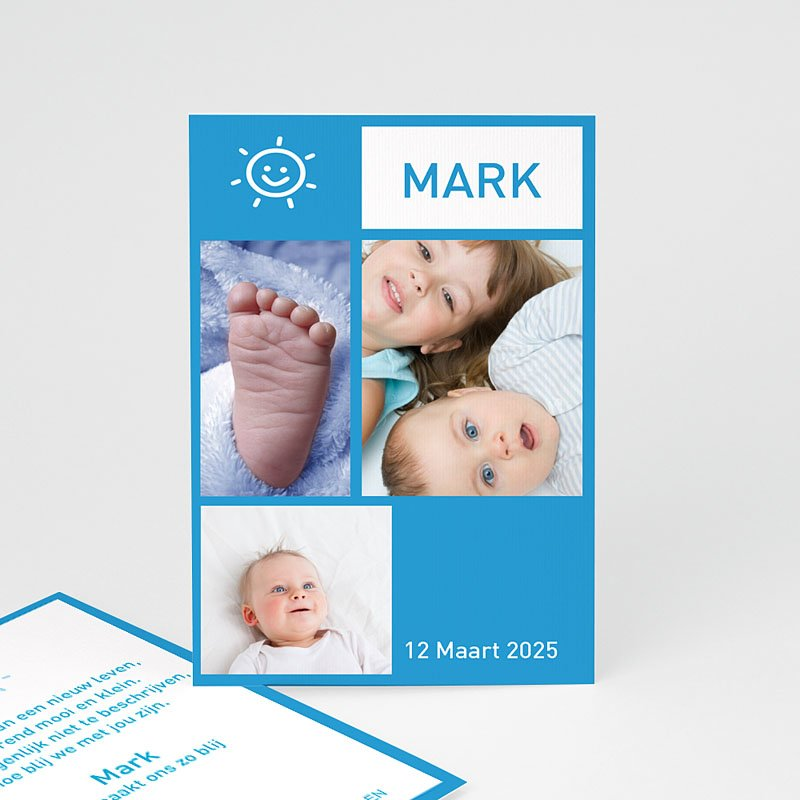 Geboortekaartje jongen Staand portretje met foto's, blauw