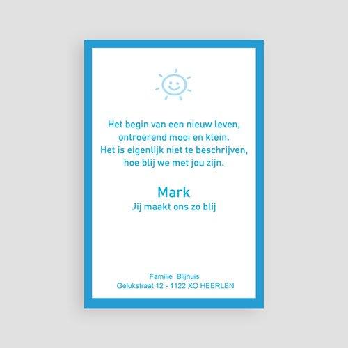 Geboortekaartje jongen - Staand portretje met foto's, blauw 11374 thumb