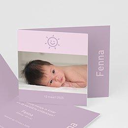 Aankondiging Geboorte Retro roze zonnetje