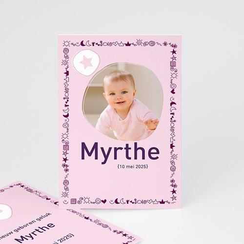 Geboortekaartjes Meisje Roze symbooltje