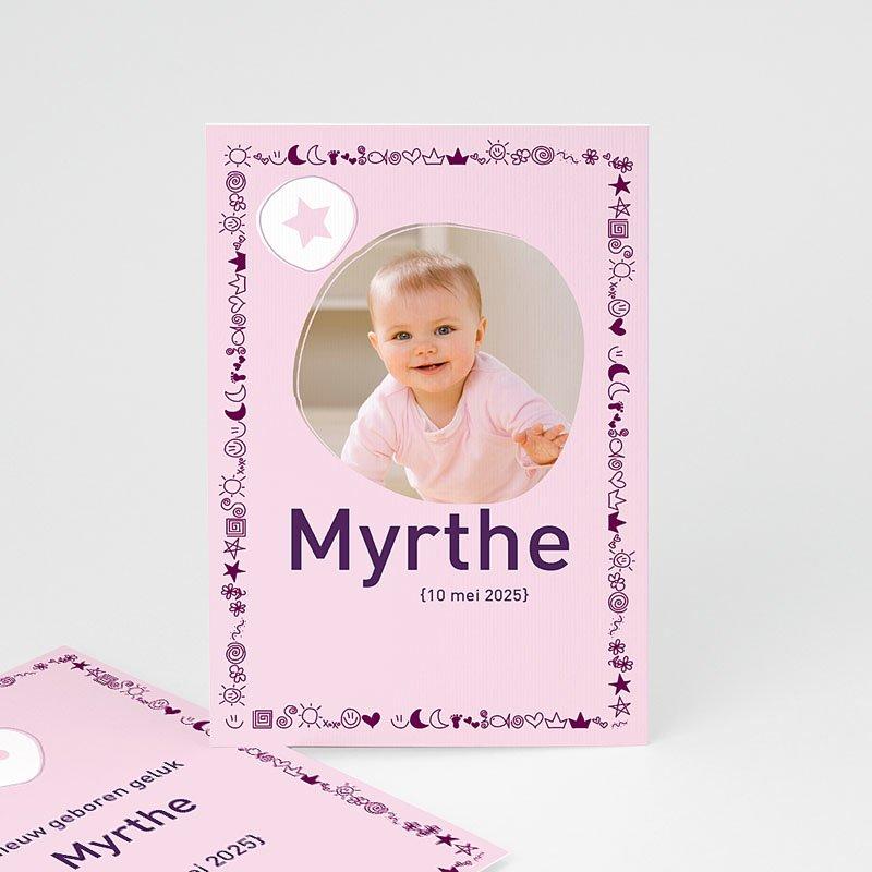 Geboortekaartje meisje - Roze symbooltje 11383 thumb