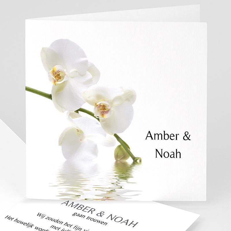 Trouwkaarten - Witte orchidee 11397 thumb