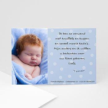 Bedankkaartje geboorte zoon - Blauw voorop - 1