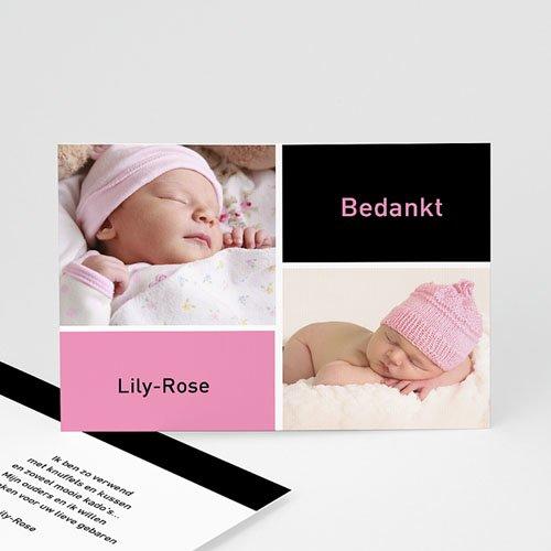 Bedankkaartje geboorte dochter - fris en puur, multifoto rose 11421