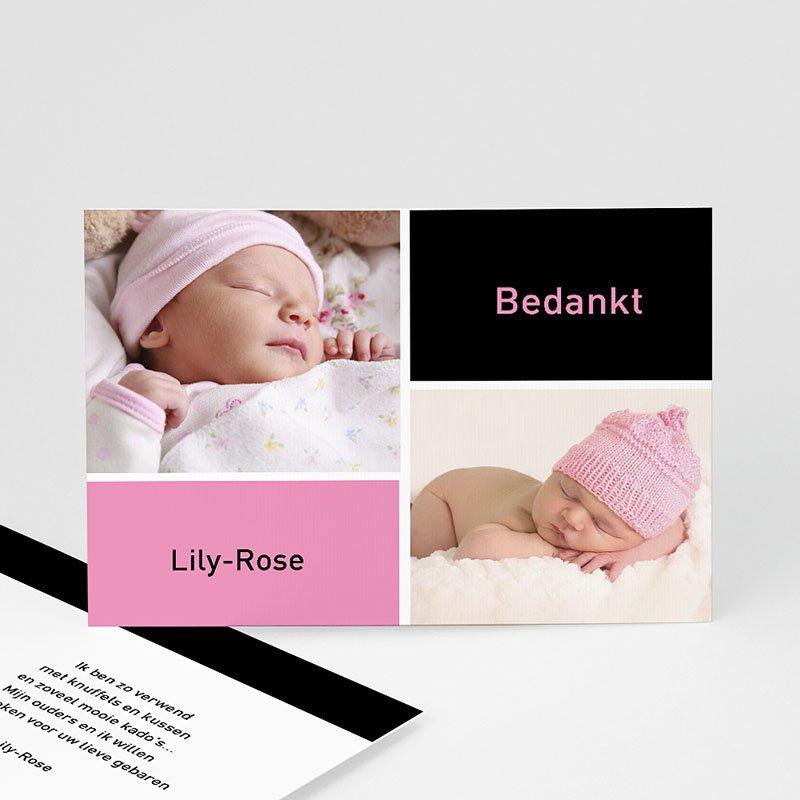 Bedankkaartje geboorte dochter - fris en puur, multifoto rose 11421 thumb