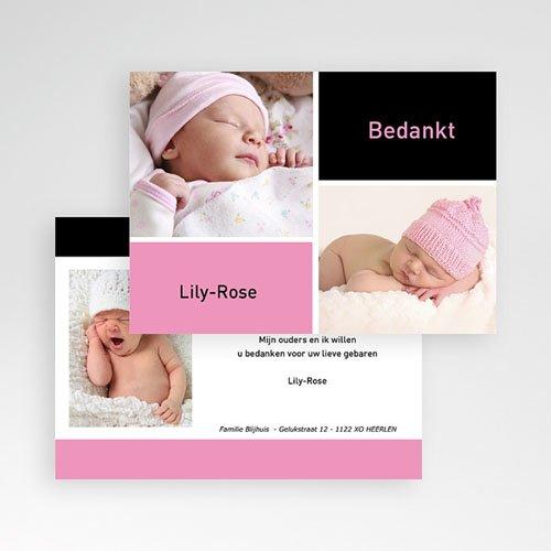 Bedankkaartje geboorte dochter - fris en puur, multifoto rose 11422 thumb