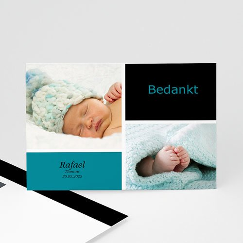 Bedankkaartje geboorte zoon - fris en puur, multifoto blauw 11425 thumb