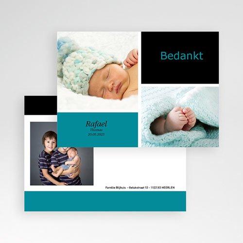 Bedankkaartje geboorte zoon - fris en puur, multifoto blauw 11426 thumb