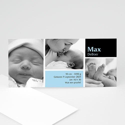 Geboortekaartje jongen fris en puur, multifoto blauw