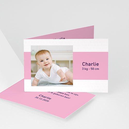 Geboortekaartje meisje - Drie foto's en design motief, roze 11429 thumb