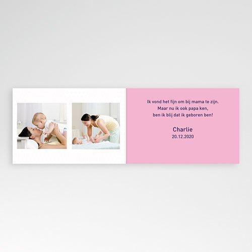 Geboortekaartje meisje - Drie foto's en design motief, roze 11430 thumb
