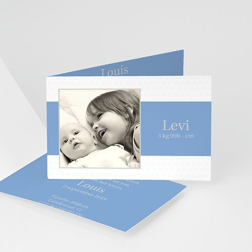 Geboortekaartje jongen - Drie foto's en design motief, blauw 11431 thumb