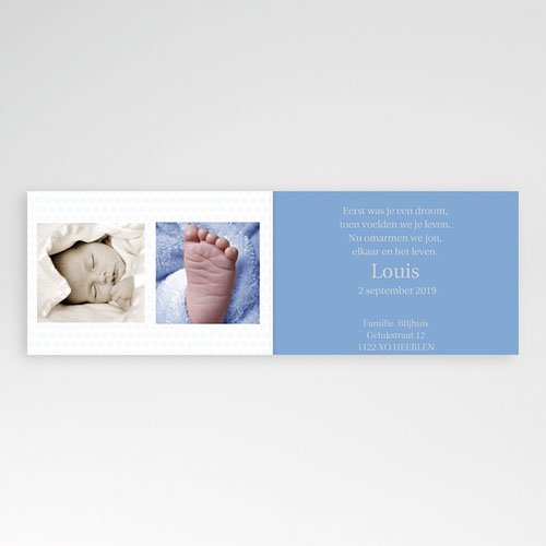 Geboortekaartje jongen - Drie foto's en design motief, blauw 11432 thumb