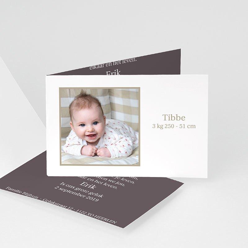 Geboortekaartjes Meisje Drie foto's en design motief, grijs