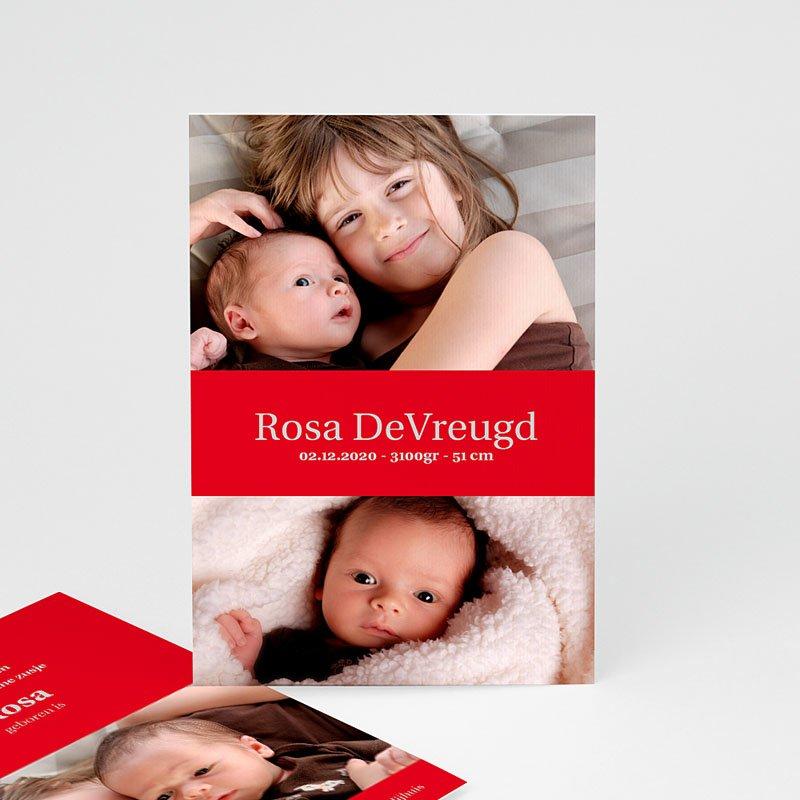 Geboortekaartje meisje - Fel rood 11439 thumb