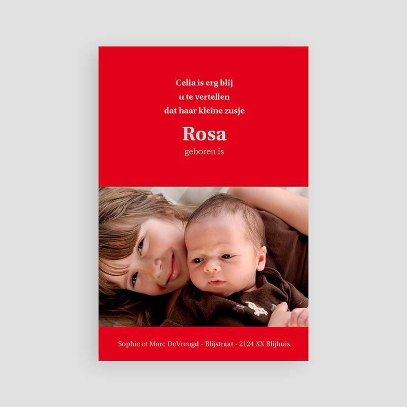 Geboortekaartje meisje - Fel rood 11440 thumb