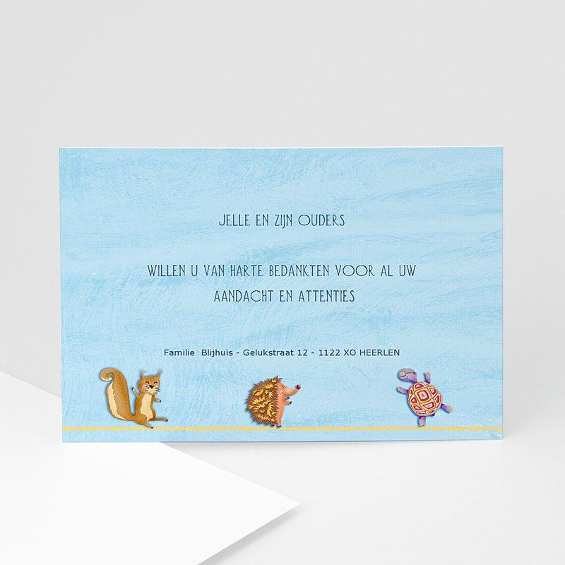 Bedankkaartje geboorte zoon - Jongetje tussen de dieren 11443 thumb